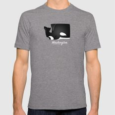 The Washington Whale Tri-Grey LARGE Mens Fitted Tee