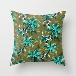 Snake Palms - Light Teal Mustard Throw Pillow