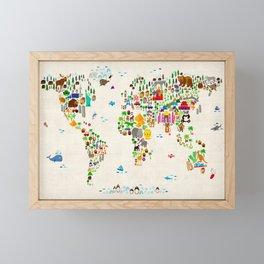 Animal Map of the World for children and kids Framed Mini Art Print