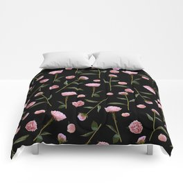 Peonies on Black Comforters