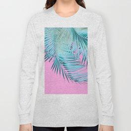 Palm Leaves Pink Blue Vibes #1 #tropical #decor #art #society6 Long Sleeve T-shirt