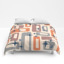 Retro Mid Century Modern Abstract Pattern 926 Orange Brown Gray Comforters
