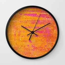 Orange & Hot Pink Abstract Art Collage Wall Clock