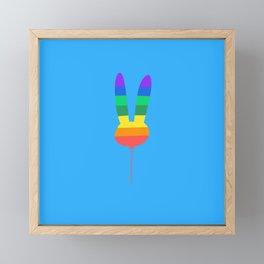 Rainbow Bunny Balloon Framed Mini Art Print