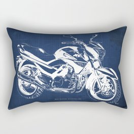 Motorcycle blueprint, 2012 Suzuki Inazuma 250, japanese bike Rectangular Pillow