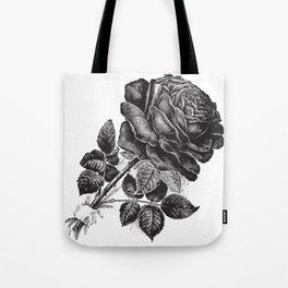 Engraved Rose Illustration Tote Bag