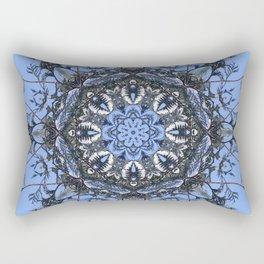 Iced Arborvitae Tracery Against The Sky Rectangular Pillow