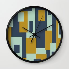 Cosmopolitan Mid Century Modern Geometric Pattern Mint Mustard Blue Wall Clock