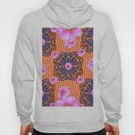 Delicate French Style Red Fuchsia Pink Wild Rose Gold Jewelry Abstract Hoody