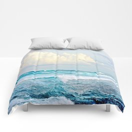 Blue Water Fluffy Clouds Comforters