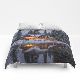 Cabin in Winter Woods (Color) Comforters