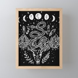 Gothic Snakes And Crystals Moon Phases Framed Mini Art Print
