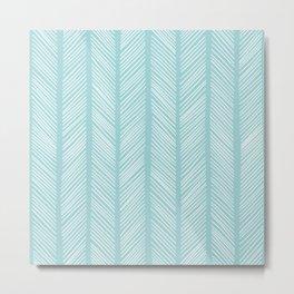 Powder Blue Herringbone 2 Metal Print