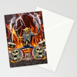 HEAVY METAL ZOMBIE DRUMMER Stationery Cards