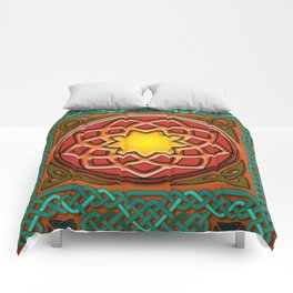 Celtic Knotwork panel in Persian Green Comforters