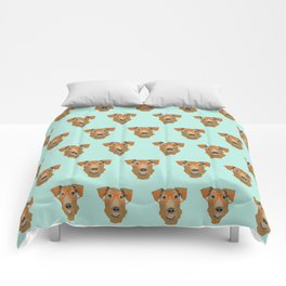 Airedale Glasses airedale dog print airedale pillow dog pattern Comforters