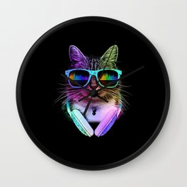 Cool Cat With Glasses And Headphones Wall Clock