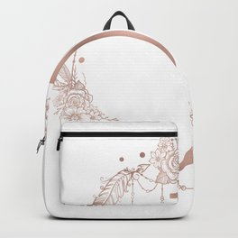 Letter J Rose Gold Pink Initial Monogram Backpack