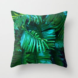 Green Palm Leaves Throw Pillow