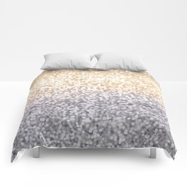 Champagne and Gray Glitter Ombre Comforters