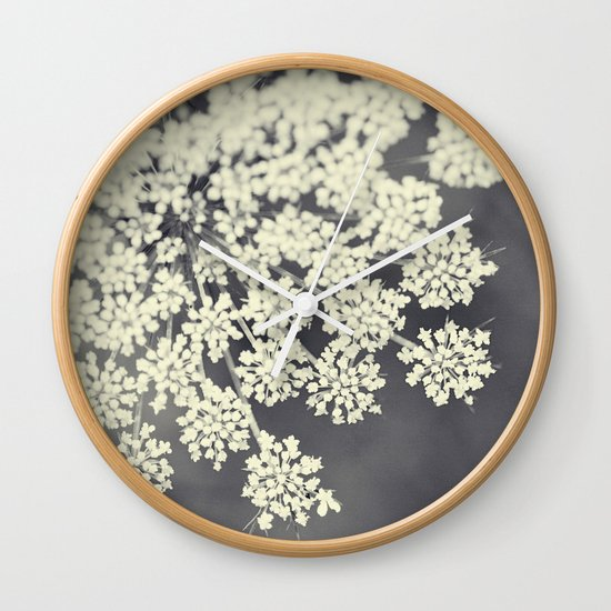 Black and White Queen Annes Lace Wall Clock
