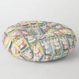 Sumo Wrestlers Japanese Vintage Print Floor Pillow