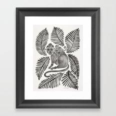 Monkey Cuddles – Black Palette Framed Art Print
