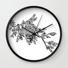 Leafy Sea Dragon Black and White Wall Clock