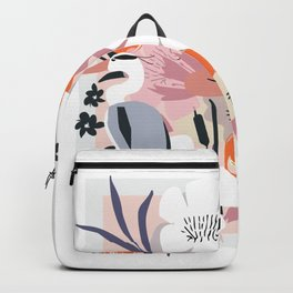 In amongst the fowers boho Heron floral garden print Backpack