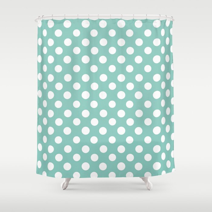 Charming Beautiful HOME  Girls Just Wanna Have Dots   Turquoise Shower Curtain