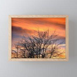 VIBRANT ORANGE WINTER SUNSET Framed Mini Art Print