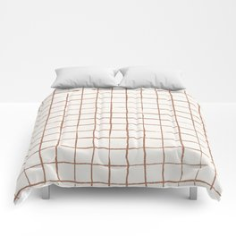 Imperfect Grid in Ivory and Clay Comforters