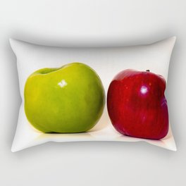 Red and green apple on white background Rectangular Pillow