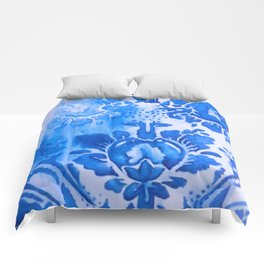 Pixilated Blue Print Comforters