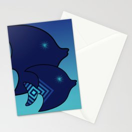 Nine Blue Fish with Patterns Stationery Cards