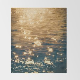 Sparkling Ocean in Gold and Navy Blue Throw Blanket