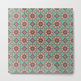Moroccan Purple Diamond Flower Pattern Metal Print