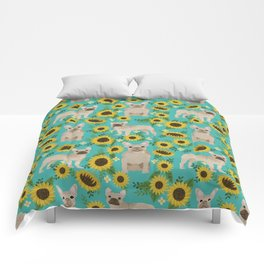 French Bulldog sunflowers sunflower floral dog breed dog pattern pet friendly pet portrait Comforters