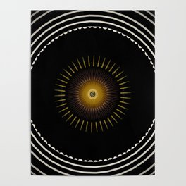 Modern Circular Abstract with Gold Mandala Poster