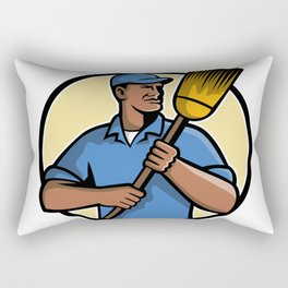 African American Street Sweeper or Cleaner Mascot Rectangular Pillow