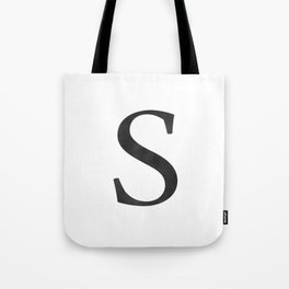 Letter S Initial Monogram Black and White Tote Bag