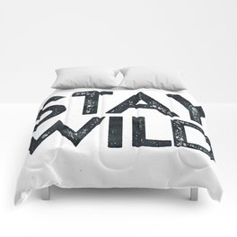 STAY WILD Vintage Black and White Comforters