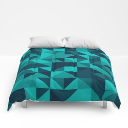The bottom of the ocean - Random triangle pattern in shades of blue and turquoise  Comforters
