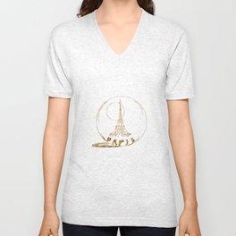 Golden Paris . Eiffel tower . illustration Unisex V-Neck