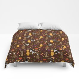 Dogs I Have Known - chocolate bg Comforters