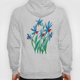 Hand painted watercolor floral blue and red flowers Hoody