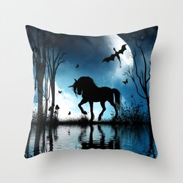 Beautiful unicorn with flying dragon in the sky Throw Pillow