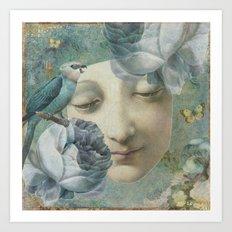Blue Bird Moon Face Art Print