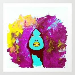 Afro Funk Girl colors Yellow Pink Art Print