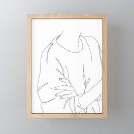 Fashion illustration line drawing - Loren Framed Mini Art Print